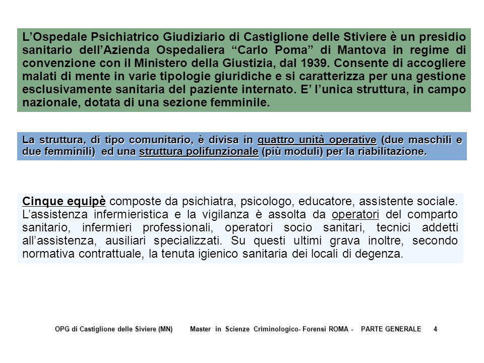 ORGANIZZAZIONE STRUTTURALE E FUNZIONALE DELLOPG di Castiglione delle Stiviere ORGANIZZAZIONE STRUTTURALE E FUNZIONALE DELLOPG di Castiglione delle Stiviere OPG di Castiglione delle Siviere (MN) Master in Scienze Criminologico- Forensi ROMA - PARTE GENERALE 14