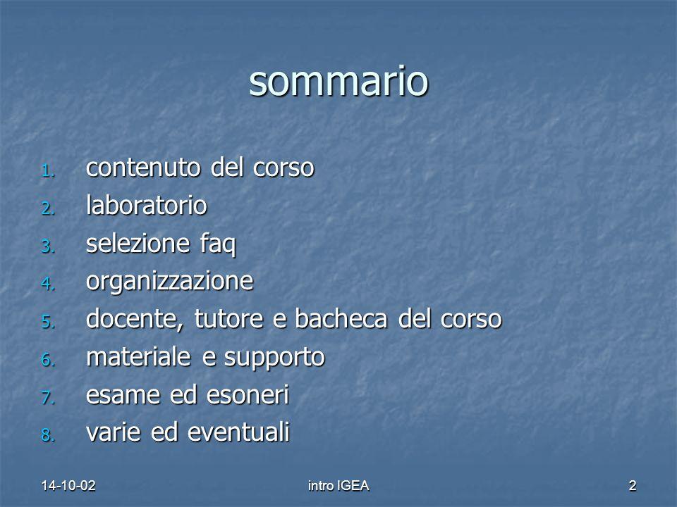 14-10-02intro IGEA2 sommario 1. contenuto del corso 2.