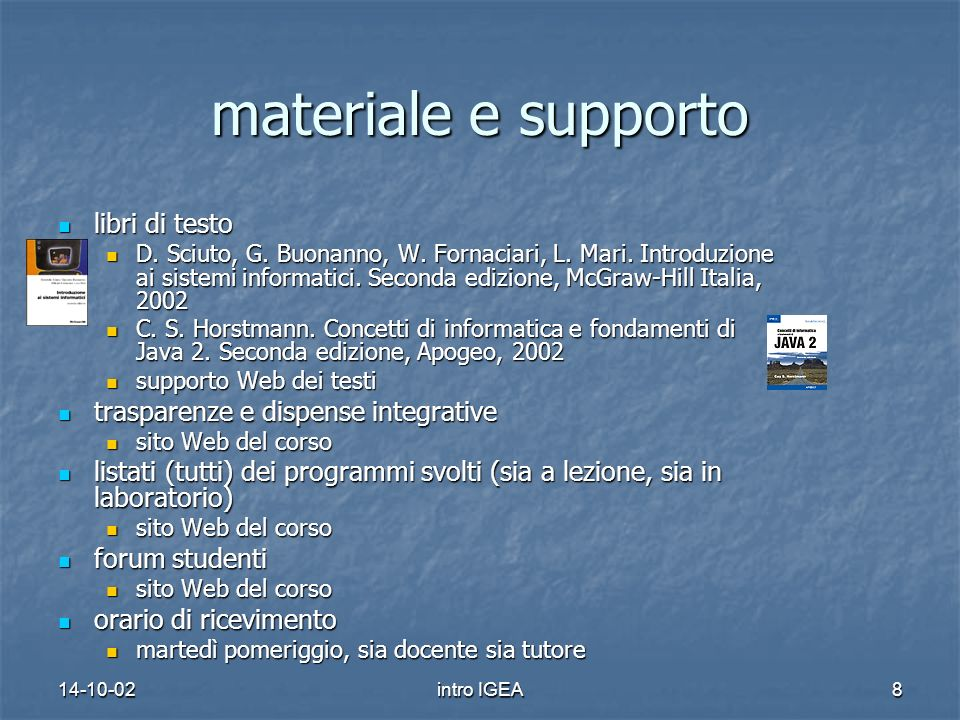 14-10-02intro IGEA8 materiale e supporto libri di testo libri di testo D.