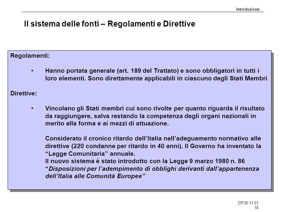 DP30.11.01 10 Il sistema delle fonti – Regolamenti e Direttive Regolamenti: Hanno portata generale (art. 189 del Trattato) e sono obbligatori in tutti