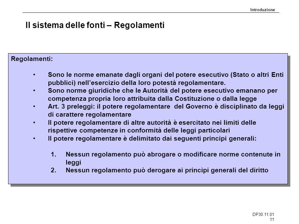 DP30.11.01 11 Il sistema delle fonti – Regolamenti Regolamenti: Sono le norme emanate dagli organi del potere esecutivo (Stato o altri Enti pubblici)