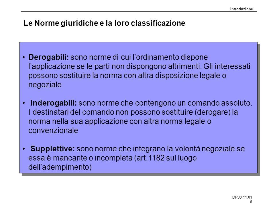 DP30.11.01 6 Le Norme giuridiche e la loro classificazione Derogabili: sono norme di cui lordinamento dispone lapplicazione se le parti non dispongono