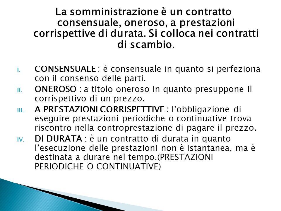 La somministrazione è un contratto consensuale, oneroso, a prestazioni corrispettive di durata. Si colloca nei contratti di scambio. I. CONSENSUALE :