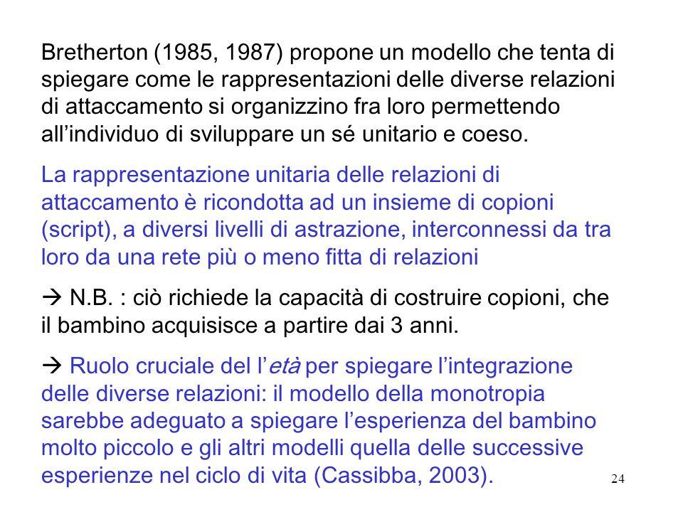 24 Bretherton (1985, 1987) propone un modello che tenta di spiegare come le rappresentazioni delle diverse relazioni di attaccamento si organizzino fra loro permettendo allindividuo di sviluppare un sé unitario e coeso.