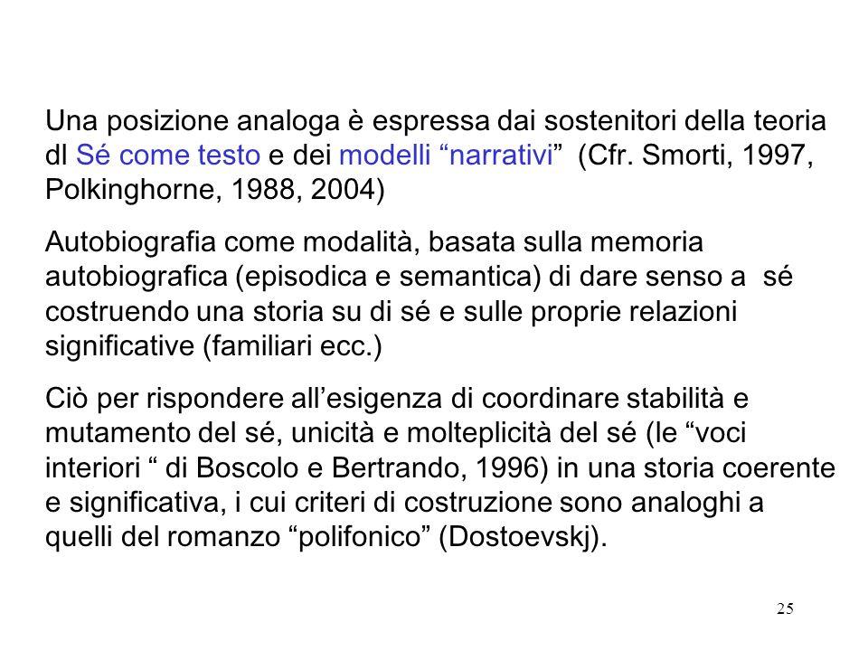 25 Una posizione analoga è espressa dai sostenitori della teoria dl Sé come testo e dei modelli narrativi (Cfr.