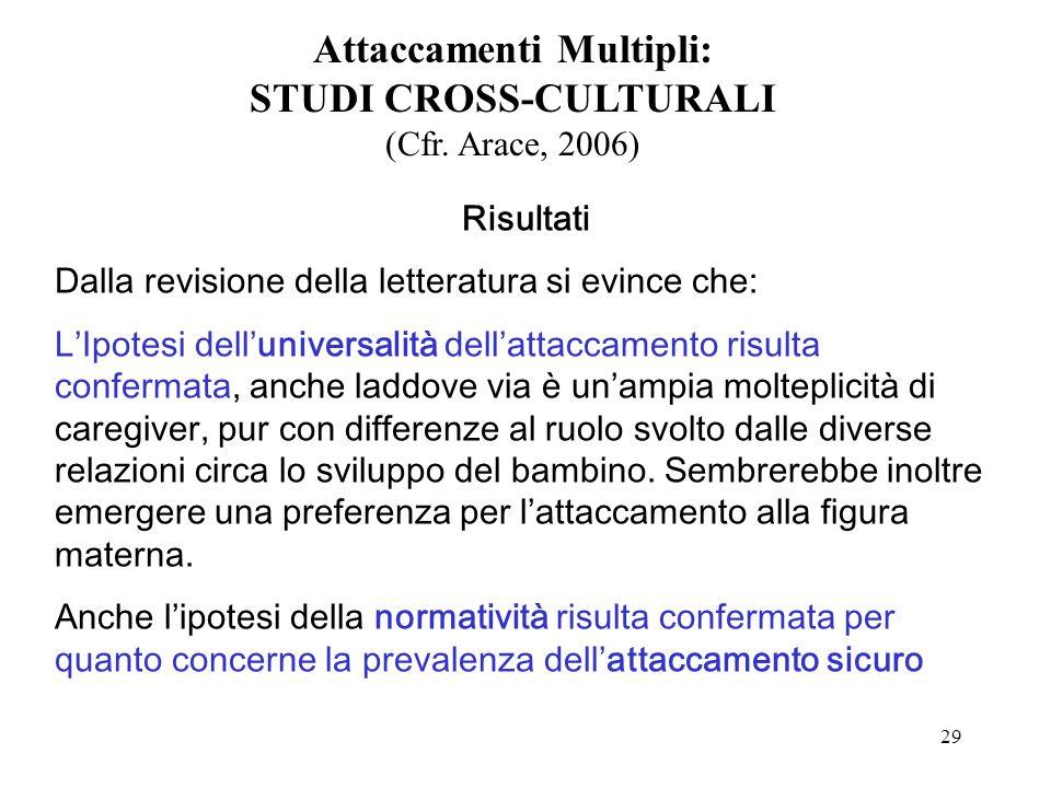 29 Attaccamenti Multipli: STUDI CROSS-CULTURALI (Cfr.