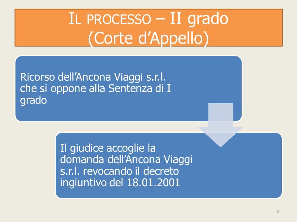I L PROCESSO – II grado (Corte dAppello) Ricorso dellAncona Viaggi s.r.l.