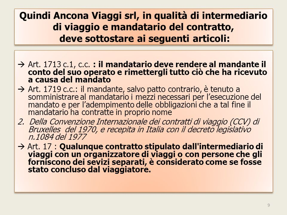 Quindi Ancona Viaggi srl, in qualità di intermediario di viaggio e mandatario del contratto, deve sottostare ai seguenti articoli: Art.