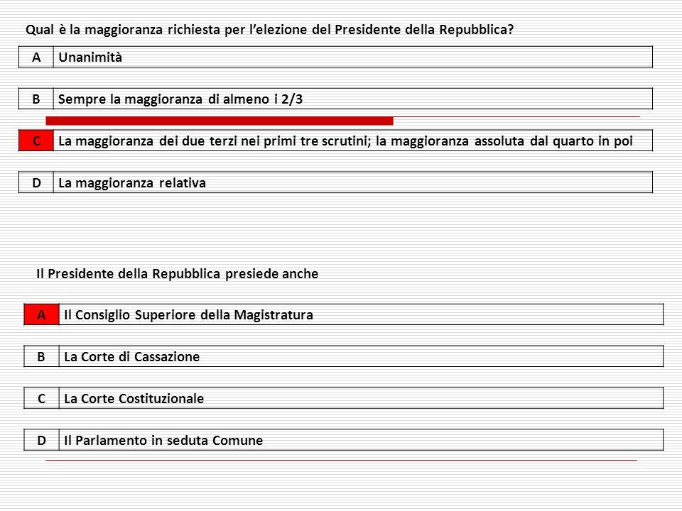 Qual è la maggioranza richiesta per lelezione del Presidente della Repubblica.