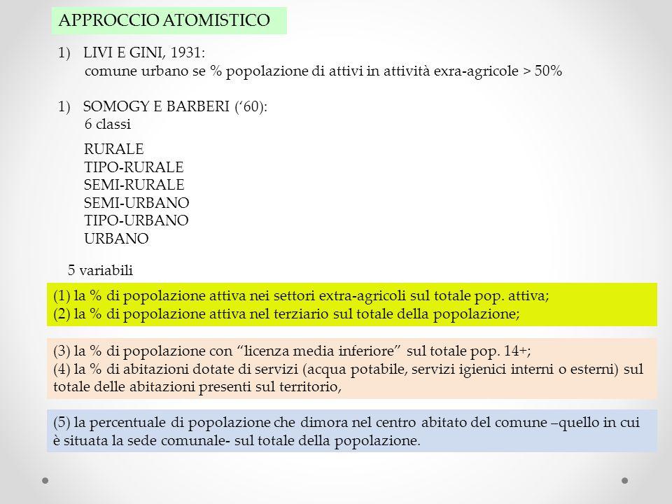 APPROCCIO ATOMISTICO 1)LIVI E GINI, 1931: comune urbano se % popolazione di attivi in attività exra-agricole > 50% 1)SOMOGY E BARBERI (60): 6 classi 5