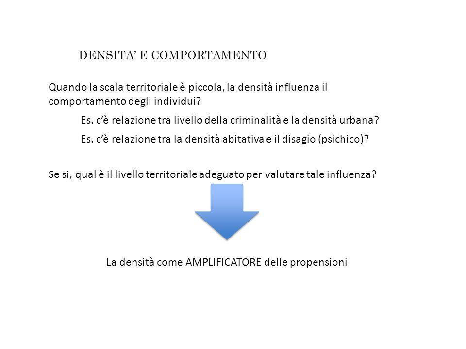 DENSITA E COMPORTAMENTO Quando la scala territoriale è piccola, la densità influenza il comportamento degli individui.