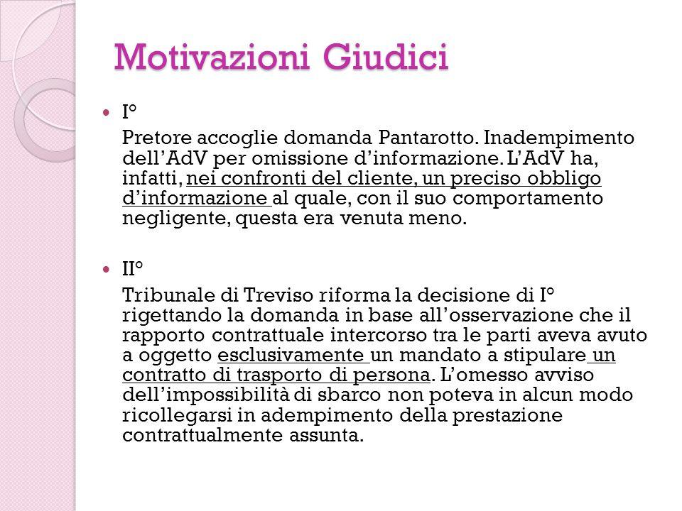 Motivazioni Giudici I° Pretore accoglie domanda Pantarotto. Inadempimento dellAdV per omissione dinformazione. LAdV ha, infatti, nei confronti del cli