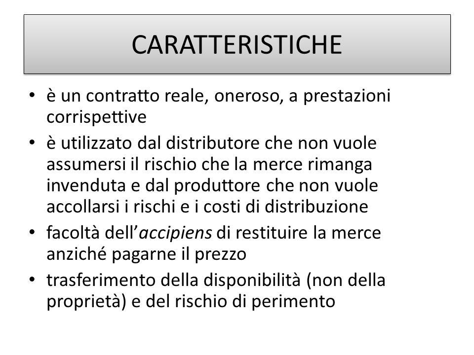 CARATTERISTICHE è un contratto reale, oneroso, a prestazioni corrispettive è utilizzato dal distributore che non vuole assumersi il rischio che la mer
