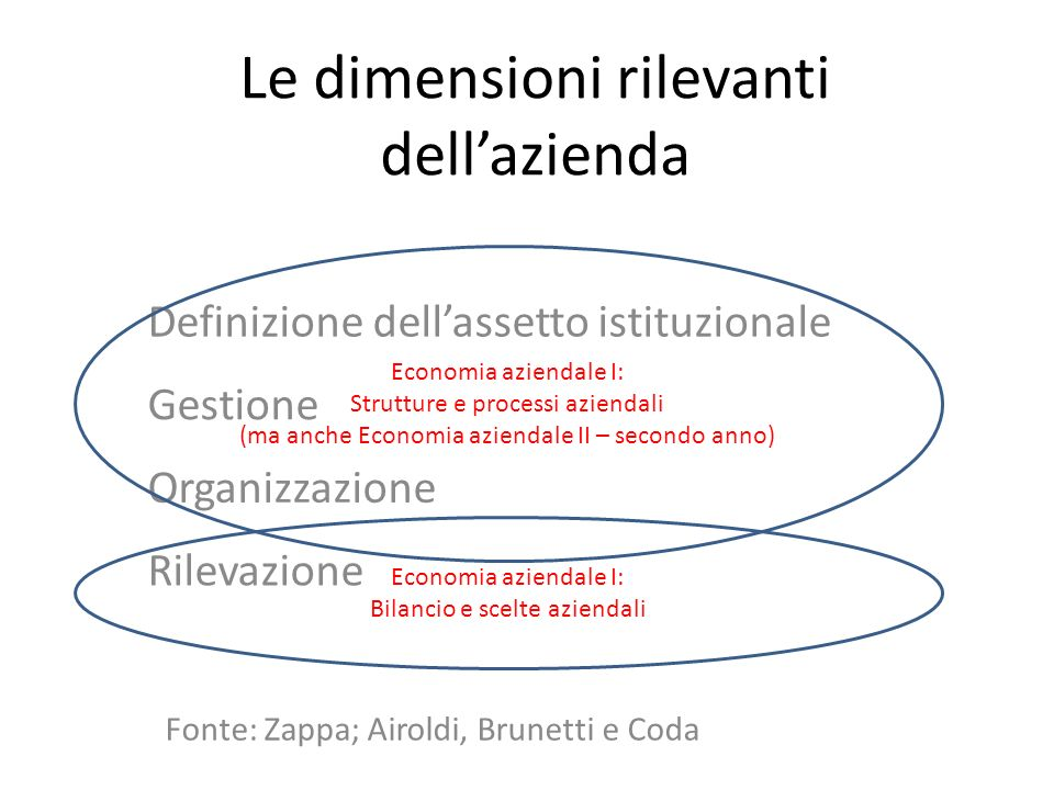 Le dimensioni rilevanti dellazienda Definizione dellassetto istituzionale Gestione Organizzazione Rilevazione Economia aziendale I: Strutture e proces