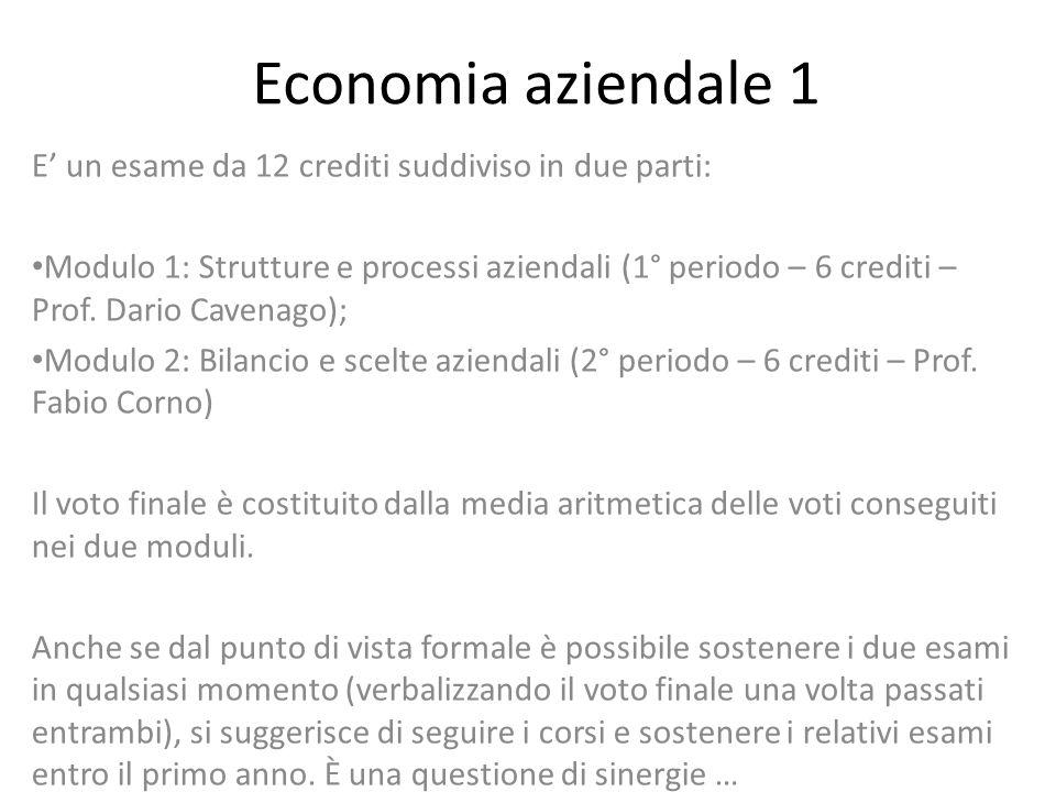 Economia aziendale 1 E un esame da 12 crediti suddiviso in due parti: Modulo 1: Strutture e processi aziendali (1° periodo – 6 crediti – Prof. Dario C
