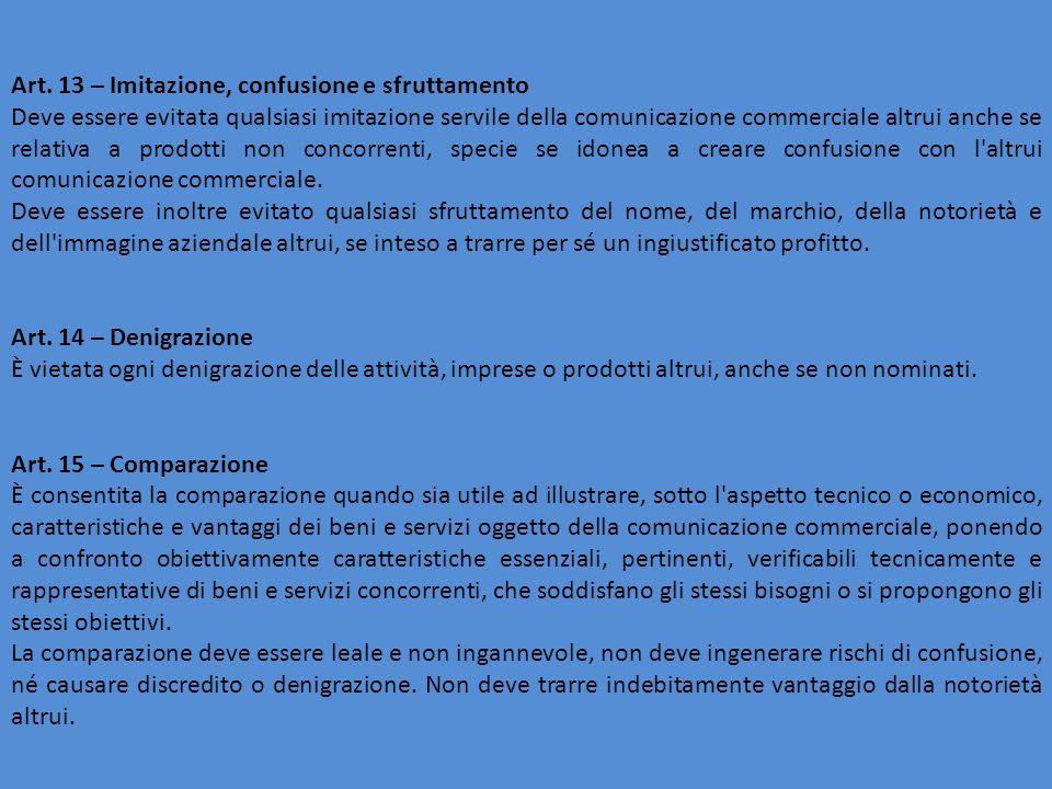 Art. 13 – Imitazione, confusione e sfruttamento Deve essere evitata qualsiasi imitazione servile della comunicazione commerciale altrui anche se relat