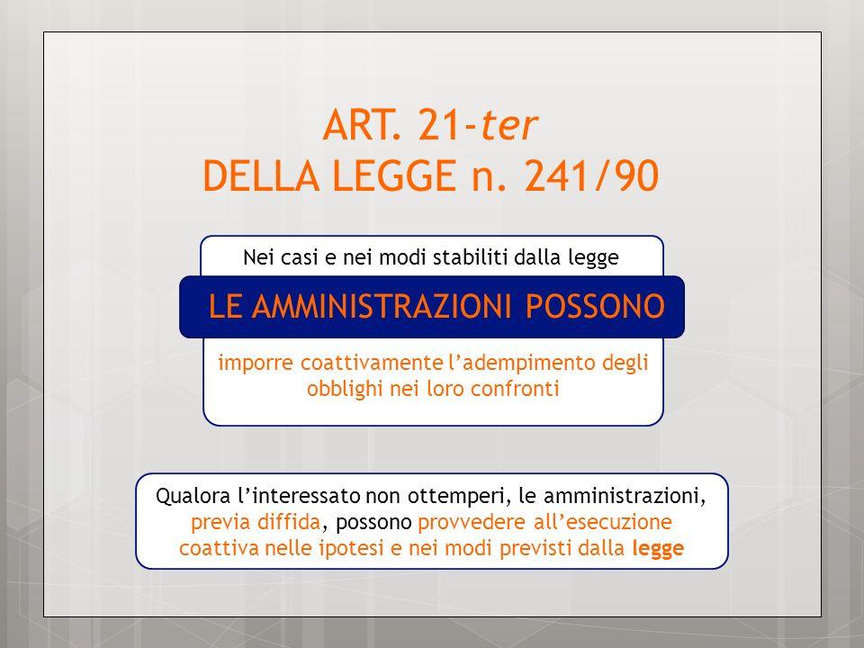 Nei casi e nei modi stabiliti dalla legge ART. 21-ter DELLA LEGGE n. 241/90 imporre coattivamente ladempimento degli obblighi nei loro confronti Qualo