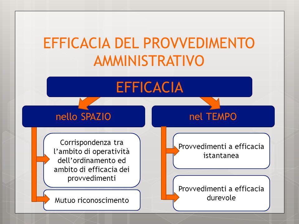 Provvedimenti a efficacia durevole Mutuo riconoscimento Corrispondenza tra lambito di operatività dellordinamento ed ambito di efficacia dei provvedim