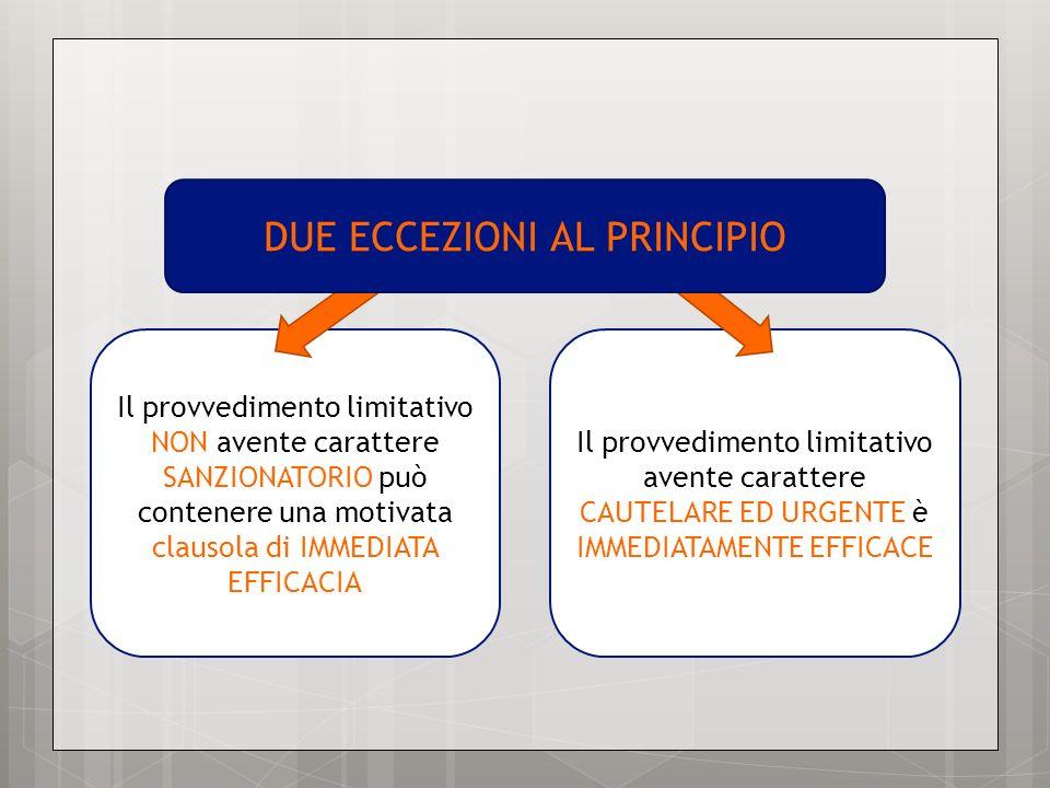 Il provvedimento limitativo NON avente carattere SANZIONATORIO può contenere una motivata clausola di IMMEDIATA EFFICACIA Il provvedimento limitativo