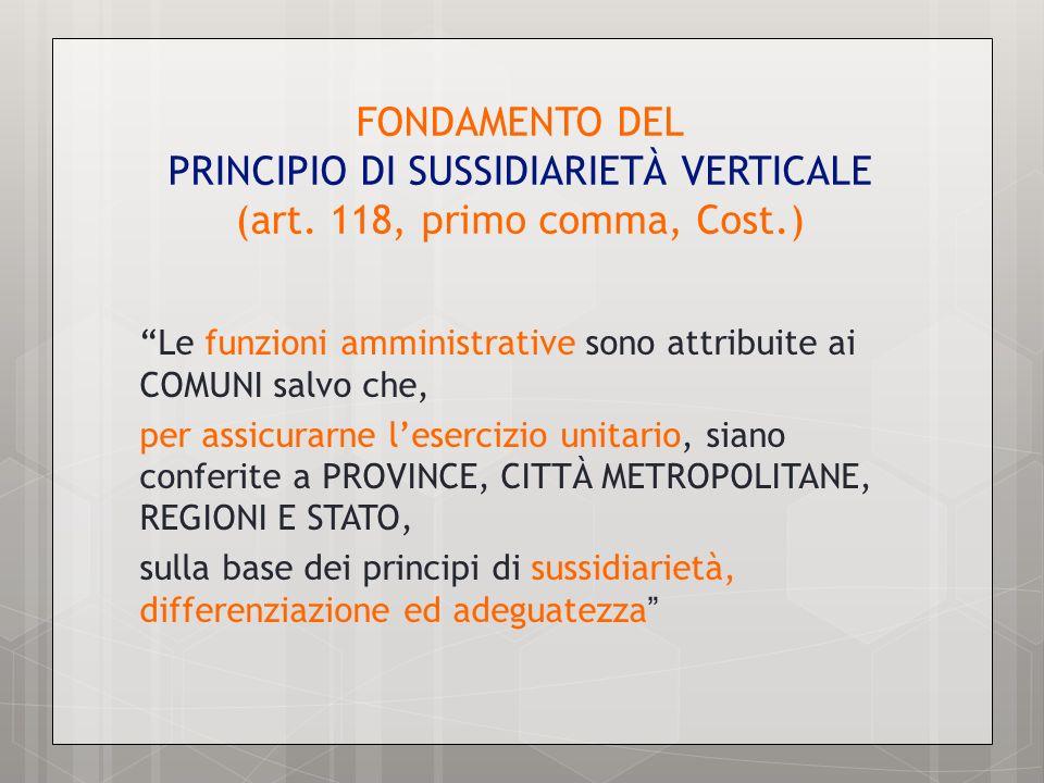 FONDAMENTO DEL PRINCIPIO DI SUSSIDIARIETÀ VERTICALE (art. 118, primo comma, Cost.) Le funzioni amministrative sono attribuite ai COMUNI salvo che, per