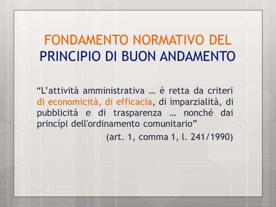 FONDAMENTO NORMATIVO DEL PRINCIPIO DI BUON ANDAMENTO Lattività amministrativa … è retta da criteri di economicità, di efficacia, di imparzialità, di p