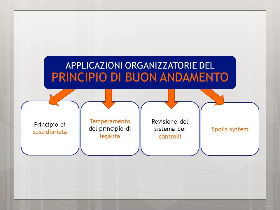Principio di sussidiarietà Temperamento del principio di legalità Spoils system Revisione del sistema dei controlli APPLICAZIONI ORGANIZZATORIE DEL PR