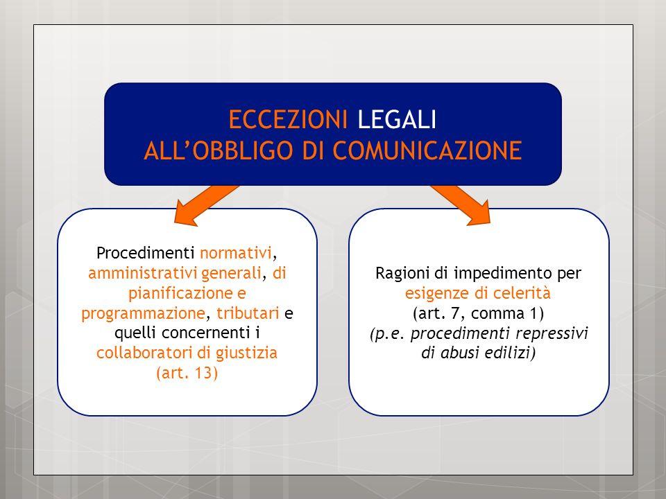 Procedimenti normativi, amministrativi generali, di pianificazione e programmazione, tributari e quelli concernenti i collaboratori di giustizia (art.