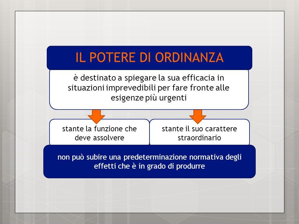 TENDENZA A NORMALIZZARE IL POTERE DI ORDINANZA individuazione normativa di limiti procedurali allesercizio del potere di ordinanza e di termini temporali di efficacia
