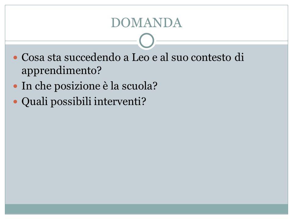 DOMANDA Cosa sta succedendo a Leo e al suo contesto di apprendimento? In che posizione è la scuola? Quali possibili interventi?