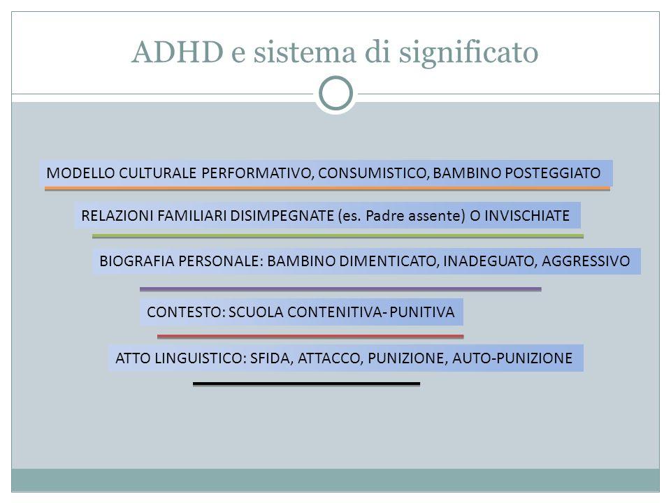 ADHD e sistema di significato MODELLO CULTURALE PERFORMATIVO, CONSUMISTICO, BAMBINO POSTEGGIATO RELAZIONI FAMILIARI DISIMPEGNATE (es. Padre assente) O