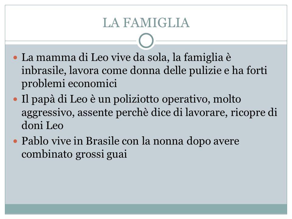 LA FAMIGLIA La mamma di Leo vive da sola, la famiglia è inbrasile, lavora come donna delle pulizie e ha forti problemi economici Il papà di Leo è un p