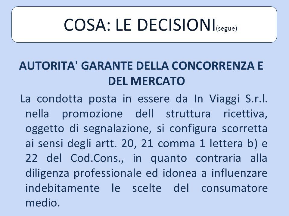 AUTORITA GARANTE DELLA CONCORRENZA E DEL MERCATO La condotta posta in essere da In Viaggi S.r.l.