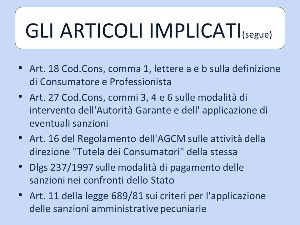 Art.18 Cod.Cons, comma 1, lettere a e b sulla definizione di Consumatore e Professionista Art.
