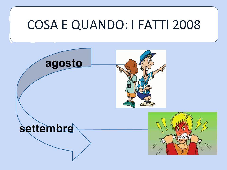 COSA E QUANDO: I FATTI (segue) settembre agosto COSA E QUANDO: I FATTI 2008