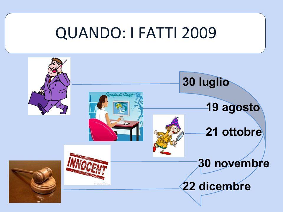 QUANDO: I FATTI 2009 30 luglio 19 agosto 21 ottobre 30 novembre 22 dicembre