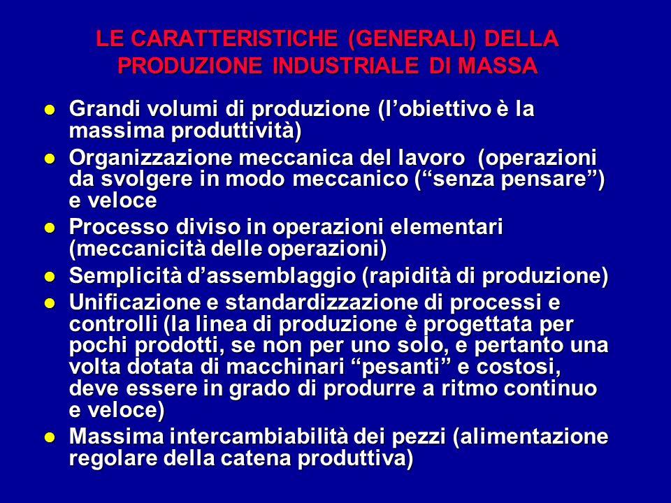 l Grandi volumi di produzione (lobiettivo è la massima produttività) l Organizzazione meccanica del lavoro (operazioni da svolgere in modo meccanico (