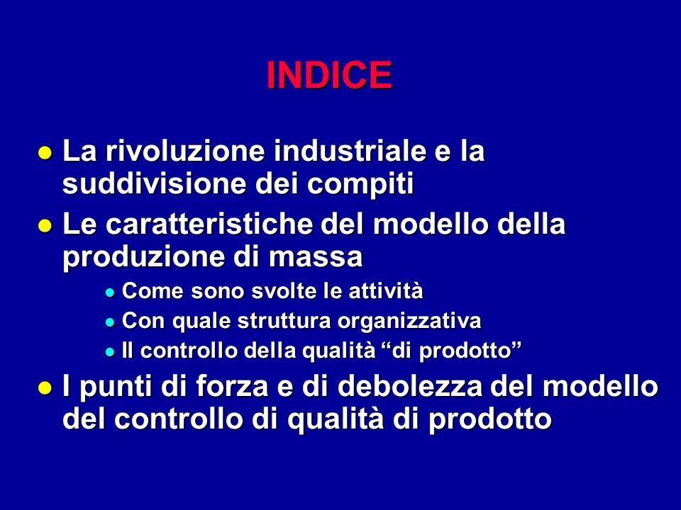 INDICE l La rivoluzione industriale e la suddivisione dei compiti l Le caratteristiche del modello della produzione di massa l Come sono svolte le att