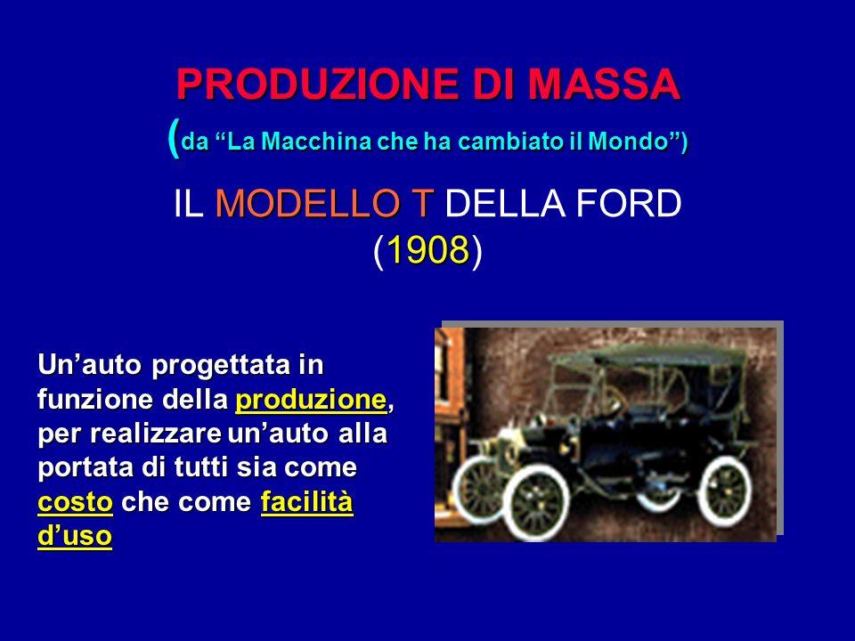 PRODUZIONE DI MASSA ( da La Macchina che ha cambiato il Mondo) MODELLO T 1908 IL MODELLO T DELLA FORD (1908) Unauto progettata in funzione della produ