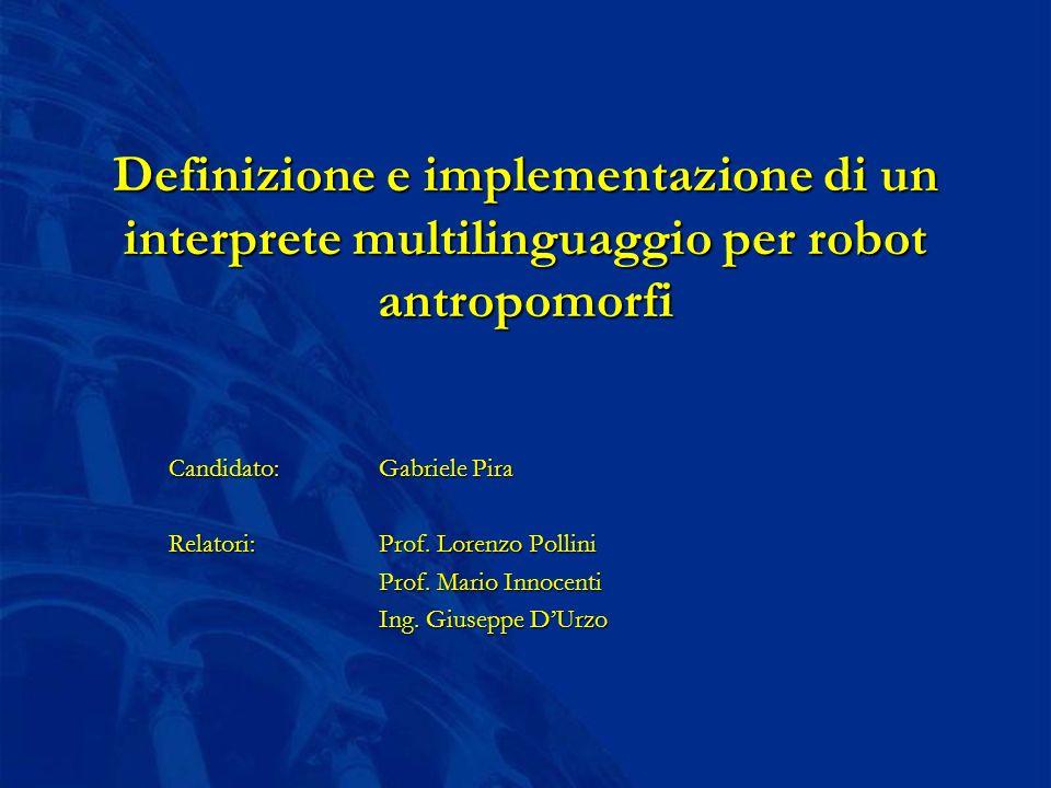 Definizione e implementazione di un interprete multilinguaggio per robot antropomorfi Candidato: Gabriele Pira Relatori:Prof.