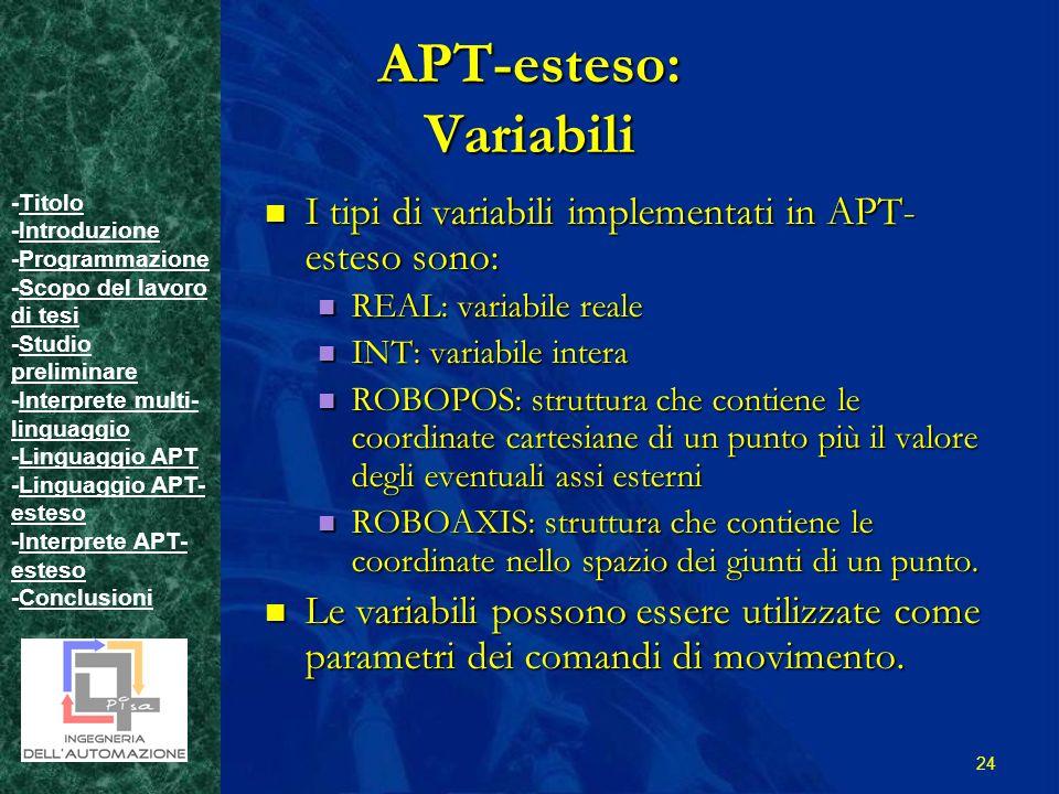 -TitoloTitolo -IntroduzioneIntroduzione -ProgrammazioneProgrammazione -Scopo del lavoro di tesiScopo del lavoro di tesi -Studio preliminareStudio preliminare -Interprete multi- linguaggioInterprete multi- linguaggio -Linguaggio APTLinguaggio APT -Linguaggio APT- estesoLinguaggio APT- esteso -Interprete APT- estesoInterprete APT- esteso -ConclusioniConclusioni 24 APT-esteso: Variabili I tipi di variabili implementati in APT- esteso sono: I tipi di variabili implementati in APT- esteso sono: REAL: variabile reale REAL: variabile reale INT: variabile intera INT: variabile intera ROBOPOS: struttura che contiene le coordinate cartesiane di un punto più il valore degli eventuali assi esterni ROBOPOS: struttura che contiene le coordinate cartesiane di un punto più il valore degli eventuali assi esterni ROBOAXIS: struttura che contiene le coordinate nello spazio dei giunti di un punto.