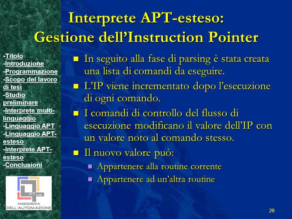 -TitoloTitolo -IntroduzioneIntroduzione -ProgrammazioneProgrammazione -Scopo del lavoro di tesiScopo del lavoro di tesi -Studio preliminareStudio preliminare -Interprete multi- linguaggioInterprete multi- linguaggio -Linguaggio APTLinguaggio APT -Linguaggio APT- estesoLinguaggio APT- esteso -Interprete APT- estesoInterprete APT- esteso -ConclusioniConclusioni 26 Interprete APT-esteso: Gestione dellInstruction Pointer In seguito alla fase di parsing è stata creata una lista di comandi da eseguire.