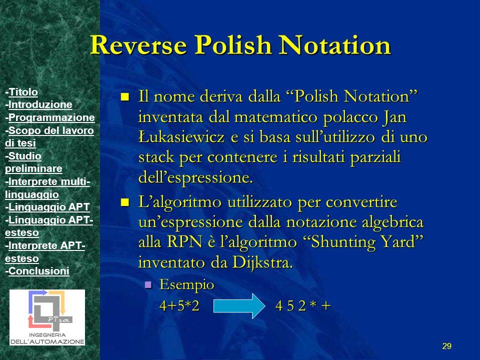 -TitoloTitolo -IntroduzioneIntroduzione -ProgrammazioneProgrammazione -Scopo del lavoro di tesiScopo del lavoro di tesi -Studio preliminareStudio preliminare -Interprete multi- linguaggioInterprete multi- linguaggio -Linguaggio APTLinguaggio APT -Linguaggio APT- estesoLinguaggio APT- esteso -Interprete APT- estesoInterprete APT- esteso -ConclusioniConclusioni 29 Reverse Polish Notation Il nome deriva dalla Polish Notation inventata dal matematico polacco Jan Łukasiewicz e si basa sullutilizzo di uno stack per contenere i risultati parziali dellespressione.