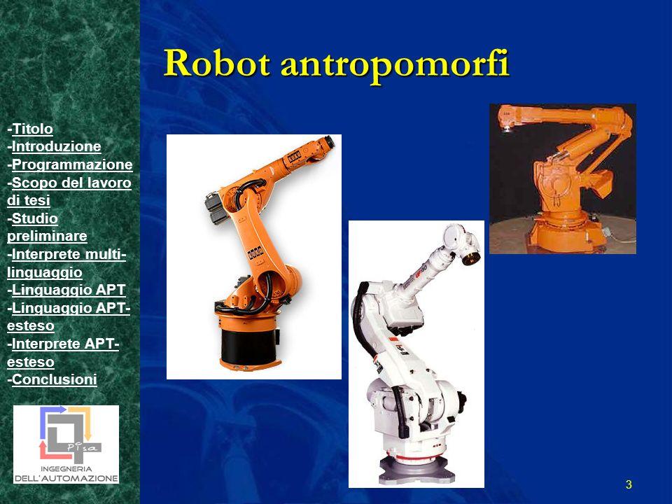 -TitoloTitolo -IntroduzioneIntroduzione -ProgrammazioneProgrammazione -Scopo del lavoro di tesiScopo del lavoro di tesi -Studio preliminareStudio preliminare -Interprete multi- linguaggioInterprete multi- linguaggio -Linguaggio APTLinguaggio APT -Linguaggio APT- estesoLinguaggio APT- esteso -Interprete APT- estesoInterprete APT- esteso -ConclusioniConclusioni 3 Robot antropomorfi