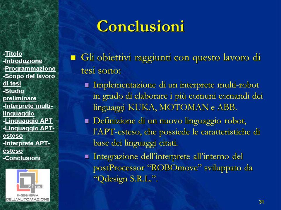 -TitoloTitolo -IntroduzioneIntroduzione -ProgrammazioneProgrammazione -Scopo del lavoro di tesiScopo del lavoro di tesi -Studio preliminareStudio preliminare -Interprete multi- linguaggioInterprete multi- linguaggio -Linguaggio APTLinguaggio APT -Linguaggio APT- estesoLinguaggio APT- esteso -Interprete APT- estesoInterprete APT- esteso -ConclusioniConclusioni 31 Conclusioni Gli obiettivi raggiunti con questo lavoro di tesi sono: Gli obiettivi raggiunti con questo lavoro di tesi sono: Implementazione di un interprete multi-robot in grado di elaborare i più comuni comandi dei linguaggi KUKA, MOTOMAN e ABB.
