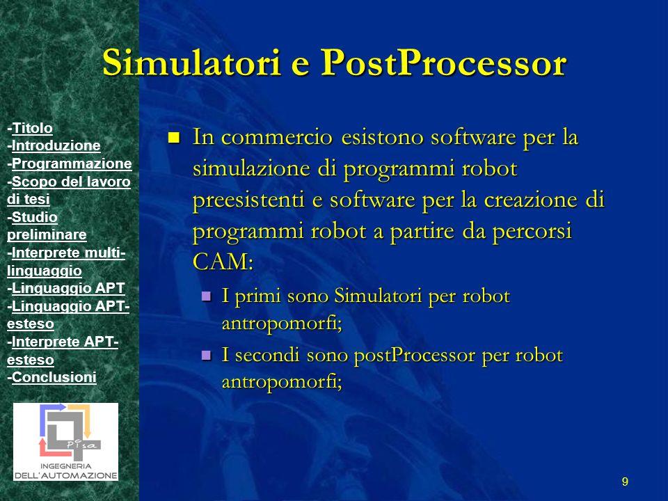 -TitoloTitolo -IntroduzioneIntroduzione -ProgrammazioneProgrammazione -Scopo del lavoro di tesiScopo del lavoro di tesi -Studio preliminareStudio preliminare -Interprete multi- linguaggioInterprete multi- linguaggio -Linguaggio APTLinguaggio APT -Linguaggio APT- estesoLinguaggio APT- esteso -Interprete APT- estesoInterprete APT- esteso -ConclusioniConclusioni 9 Simulatori e PostProcessor In commercio esistono software per la simulazione di programmi robot preesistenti e software per la creazione di programmi robot a partire da percorsi CAM: In commercio esistono software per la simulazione di programmi robot preesistenti e software per la creazione di programmi robot a partire da percorsi CAM: I primi sono Simulatori per robot antropomorfi; I primi sono Simulatori per robot antropomorfi; I secondi sono postProcessor per robot antropomorfi; I secondi sono postProcessor per robot antropomorfi;