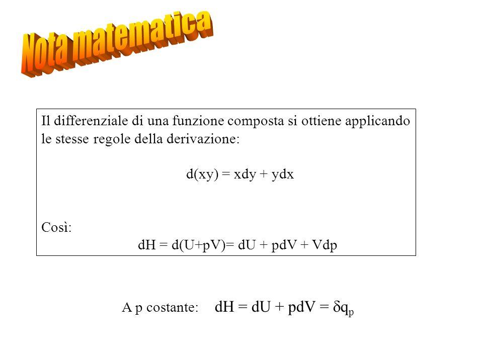 Il differenziale di una funzione composta si ottiene applicando le stesse regole della derivazione: d(xy) = xdy + ydx Così: dH = d(U+pV)= dU + pdV + V
