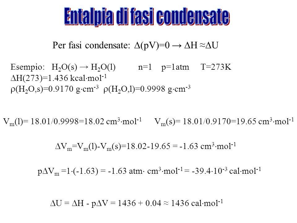Per fasi condensate: (pV)=0 H U Esempio: H 2 O(s) H 2 O(l) n=1 p=1atm T=273K H(273)=1.436 kcal mol -1 (H 2 O,s)=0.9170 g cm -3 (H 2 O,l)=0.9998 g cm -