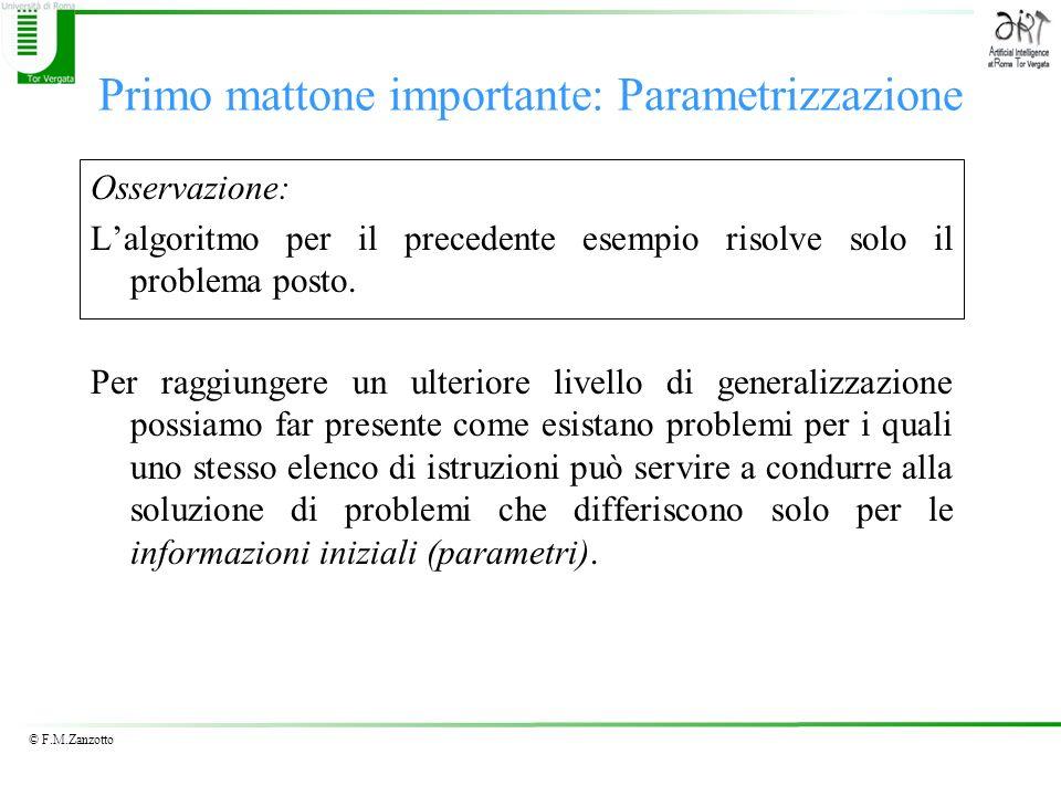 © F.M.Zanzotto Primo mattone importante: Parametrizzazione Osservazione: Lalgoritmo per il precedente esempio risolve solo il problema posto. Per ragg