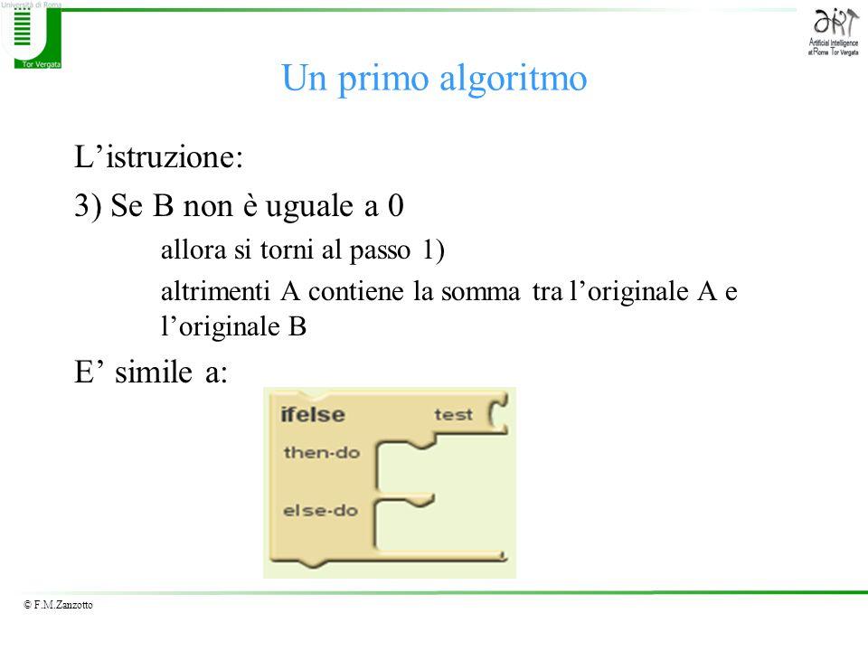 © F.M.Zanzotto Listruzione: 3) Se B non è uguale a 0 allora si torni al passo 1) altrimenti A contiene la somma tra loriginale A e loriginale B E simi