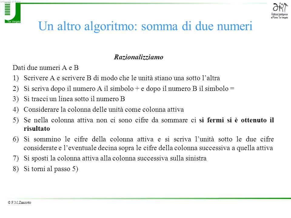 © F.M.Zanzotto Un altro algoritmo: somma di due numeri Razionalizziamo Dati due numeri A e B 1)Scrivere A e scrivere B di modo che le unità stiano una